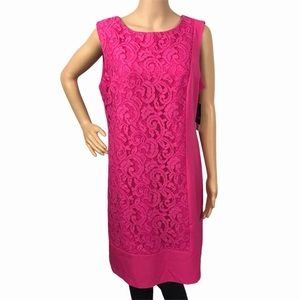 NWT studio one hot pink floral laced dress plus 16
